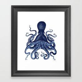Watercolor blue vintage octopus Framed Art Print