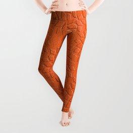 Leather Look Petal Pattern - Flame Color Leggings