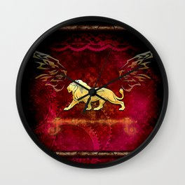 Lion in golden colors Wall Clock