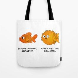 Before and After visiting Grandma - Funny Fish Illustration Tote Bag