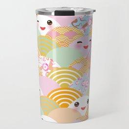 seamless pattern Kawaii with pink cheeks and winking eyes with japanese sakura flower Travel Mug