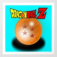 dragonball z Art Prints featuring Dragonball Z, 4 star by Metalot