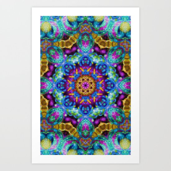 Colorful Mosaic Mandala Art Print
