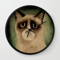 grumpy Wall Clocks featuring Grumpy! by Colunga-Art