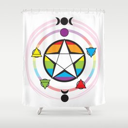 LGBT Elemental Pentagram Shower Curtain