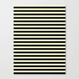 Cream Yellow and Black Horizontal Stripes Canvas Print