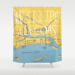 Mississippi Gulf Coast Map Shower Curtain