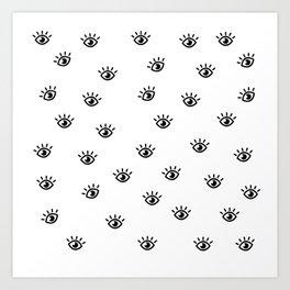 Focused Eye Black and White Pattern Art Print