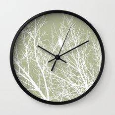 White Bird in White Tree - Moss A593 Wall Clock