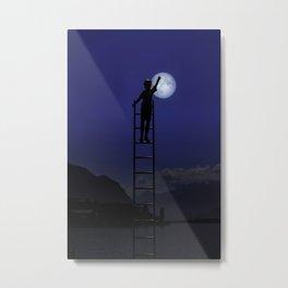 Boy and moon Montreux Switzerland Metal Print