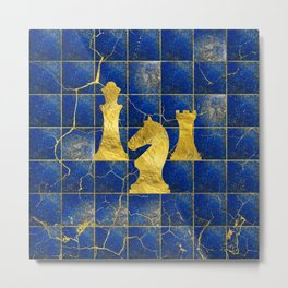 Lapis Lazuli Chessboard and Gold Chess Pieces Metal Print