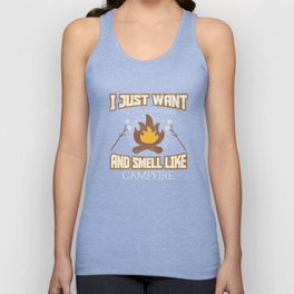 I Just Want To Smell Like Campfire Distressed T-Shirt Unisex Tank Top