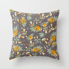 Abstract colorful hand drawn floral pattern design Throw Pillow