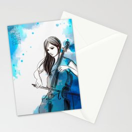Mia and her cello Stationery Cards