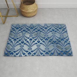 Blue And Silver Pattern Rug