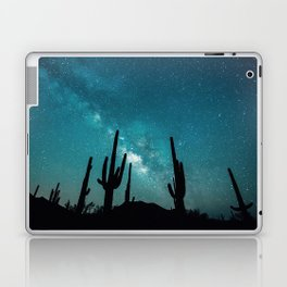 BLUE NIGHT SKY MILKY WAY AND DESERT CACTUS Laptop & iPad Skin