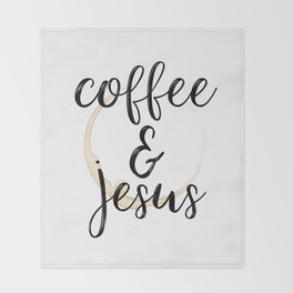 Coffee and Jesus Throw Blanket