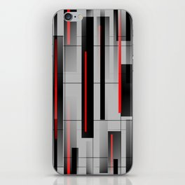 Off the Grid - Abstract - Gray, Black, Red iPhone Skin