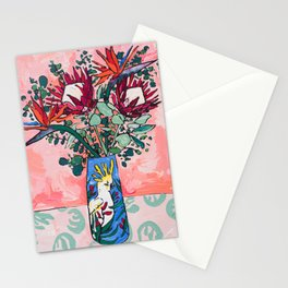 Cockatoo Vase on Painterly Pink Stationery Cards