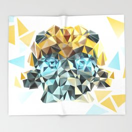 Bumblebee Low Poly Portrait Throw Blanket