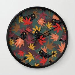 Autumn Blackbirds Wall Clock