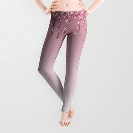 Pink Dripping Glitter Leggings