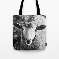sheep Tote Bags featuring Sheep by SilverSatellite