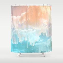 Frozen Sky Glitch - Icy blue & peach #glitchart #decor Shower Curtain