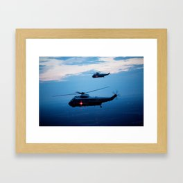 Support Helicopters Fly at Dusk Framed Art Print
