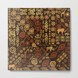 Ethnic African Pattern- browns and golds #12 Metal Print