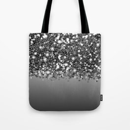 Black & Gunmetal Gray Silver Glitter Ombre Tote Bag