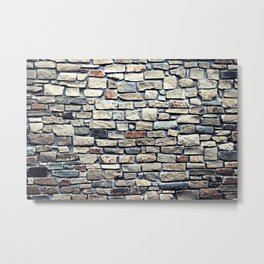 Grey tiles brick wall Metal Print