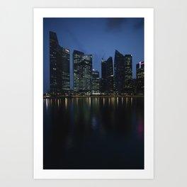 Singapore at dusk Art Print