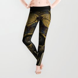 Skull Yellow | Tessellating Skulls Pattern | M. C. Escher Inspired Geometric Artwork by Tessellation Leggings