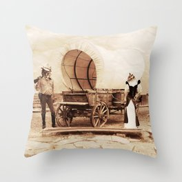 Old West Cowboy Cat and his Gal Throw Pillow