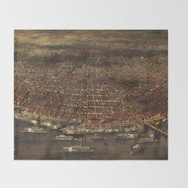 Vintage Pictorial Map of St. Louis (1874) Throw Blanket