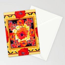 RED POPPIES DECORATIVE FLORAL ABSTRACT Stationery Cards
