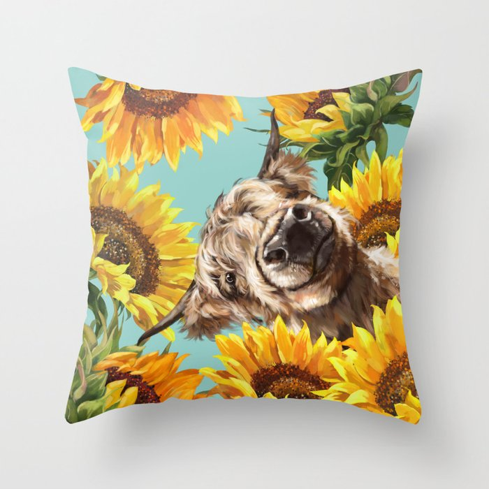 highland cow with sunflowers in blue throw pillow by bignosework