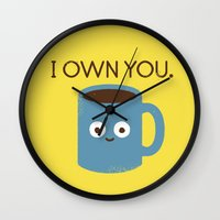 justin timberlake Wall Clocks featuring Coffee Talk by David Olenick