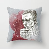 camus Throw Pillows featuring Camus - The Stranger by Nina Palumbo Illustration