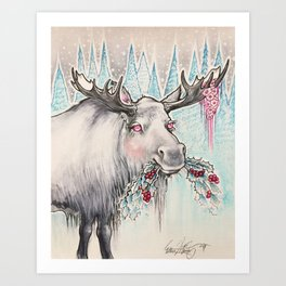 Sweet Holly Moose Art Print