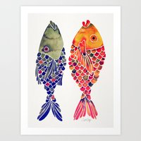 Indonesian Fish Duo – Navy & Coral Palette Art Print
