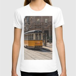 A yellow tram passes through the streets of the city of Milan T-shirt