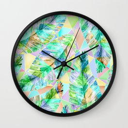 Large tropical leaves on a geometric background in pastel colors Wall Clock