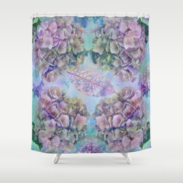 Watercolor hydrangeas and leaves Shower Curtain