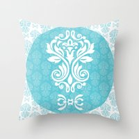 damask Throw Pillows featuring Damask by VanyNany