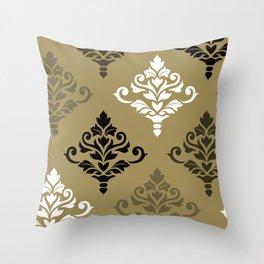 Cresta Damask Art I Black White Bronzes Gold Throw Pillow