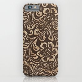 Gold & Brown Flowered Tooled Leather iPhone Case