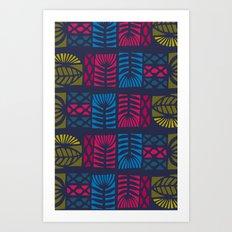jewel tones patchwork Art Print