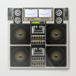 Retro Music Boombox Metal Print